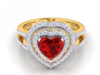 THE DIAMOND RUBY HEART RING